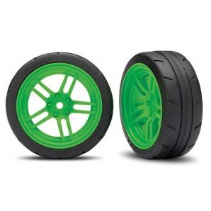 Reifen auf Felgen verklebt Split-Spoke Felge grün vorn (2)