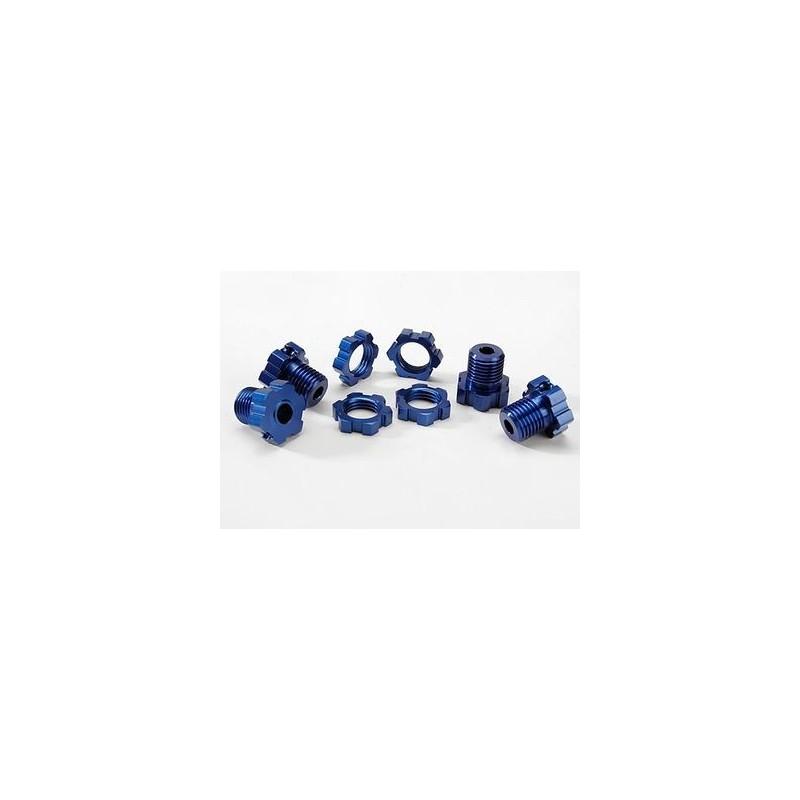 Wheel Hub Nuts 17mm Aluminium Blue (4)
